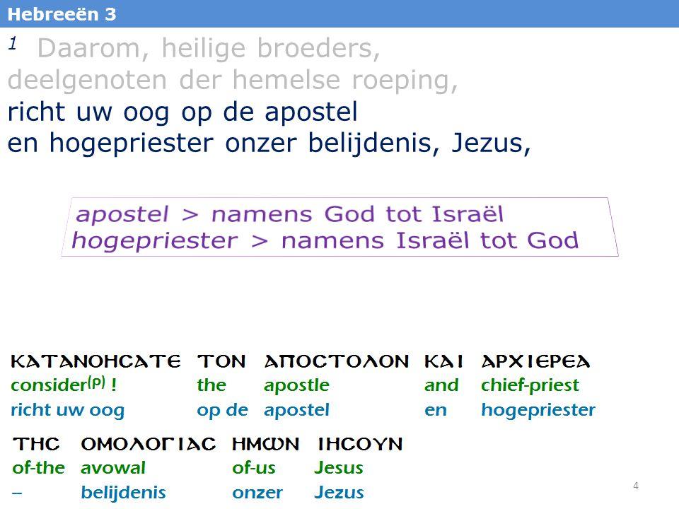1 Daarom, heilige broeders, deelgenoten der hemelse roeping,