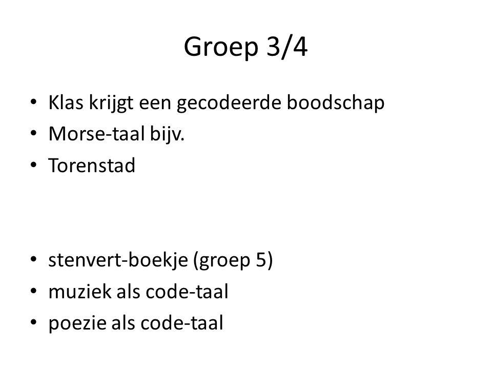 Groep 3/4 Klas krijgt een gecodeerde boodschap Morse-taal bijv.