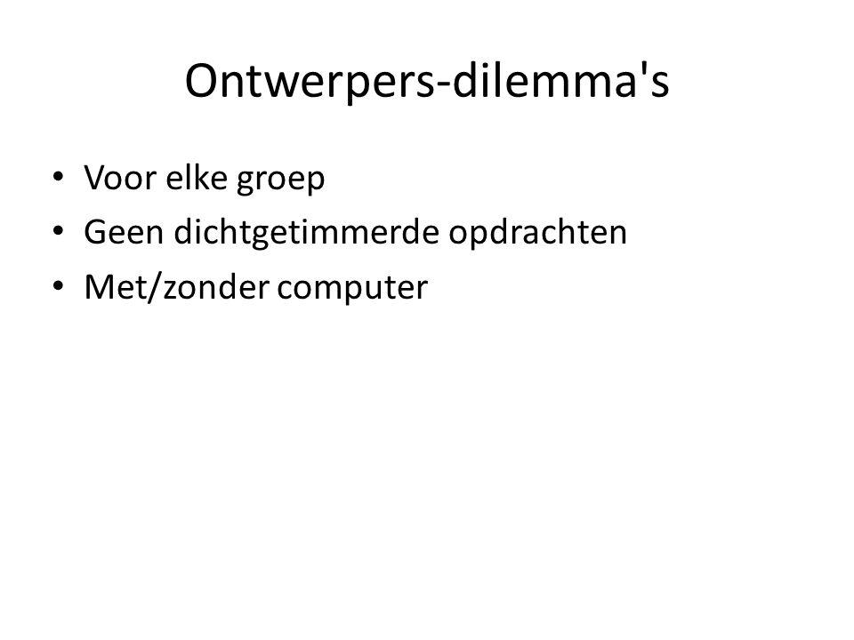 Ontwerpers-dilemma s Voor elke groep Geen dichtgetimmerde opdrachten