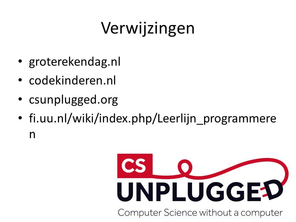 Verwijzingen groterekendag.nl codekinderen.nl csunplugged.org