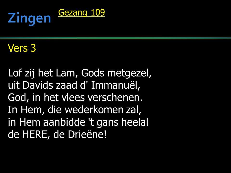 Zingen Vers 3 Lof zij het Lam, Gods metgezel,