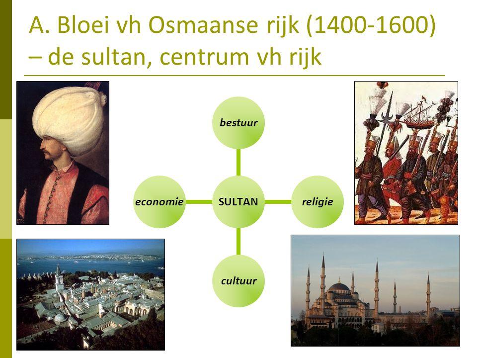 A. Bloei vh Osmaanse rijk (1400-1600) – de sultan, centrum vh rijk