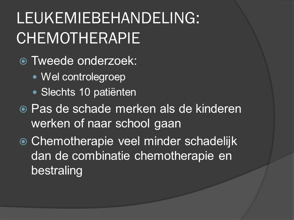 LEUKEMIEBEHANDELING: CHEMOTHERAPIE