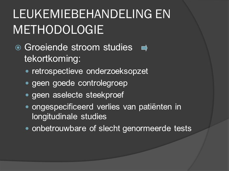 LEUKEMIEBEHANDELING EN METHODOLOGIE