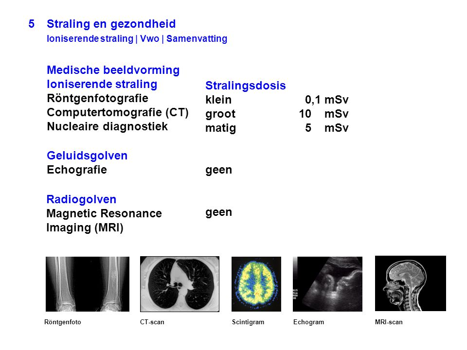 5 Straling en gezondheid Ioniserende straling | Vwo | Samenvatting