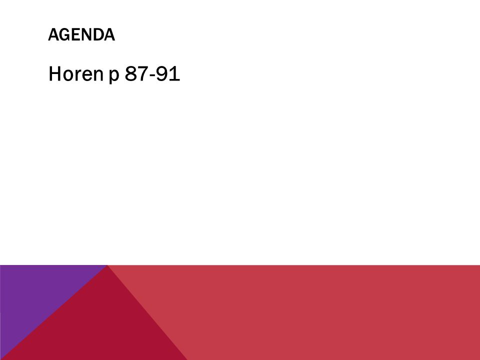 Agenda Horen p 87-91