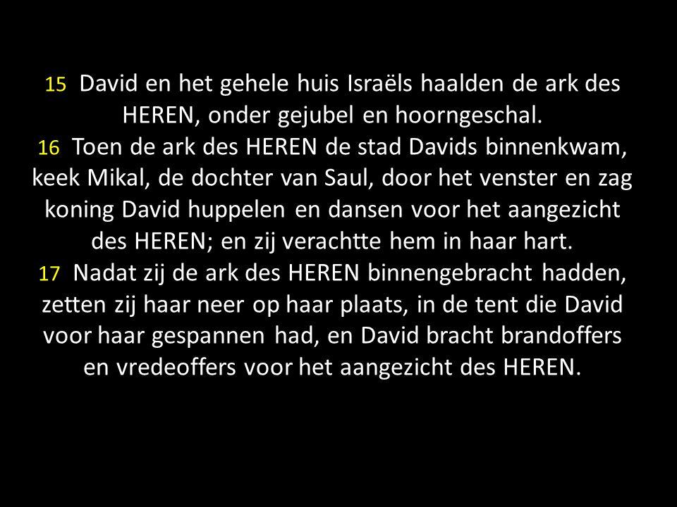 15 David en het gehele huis Israëls haalden de ark des HEREN, onder gejubel en hoorngeschal.
