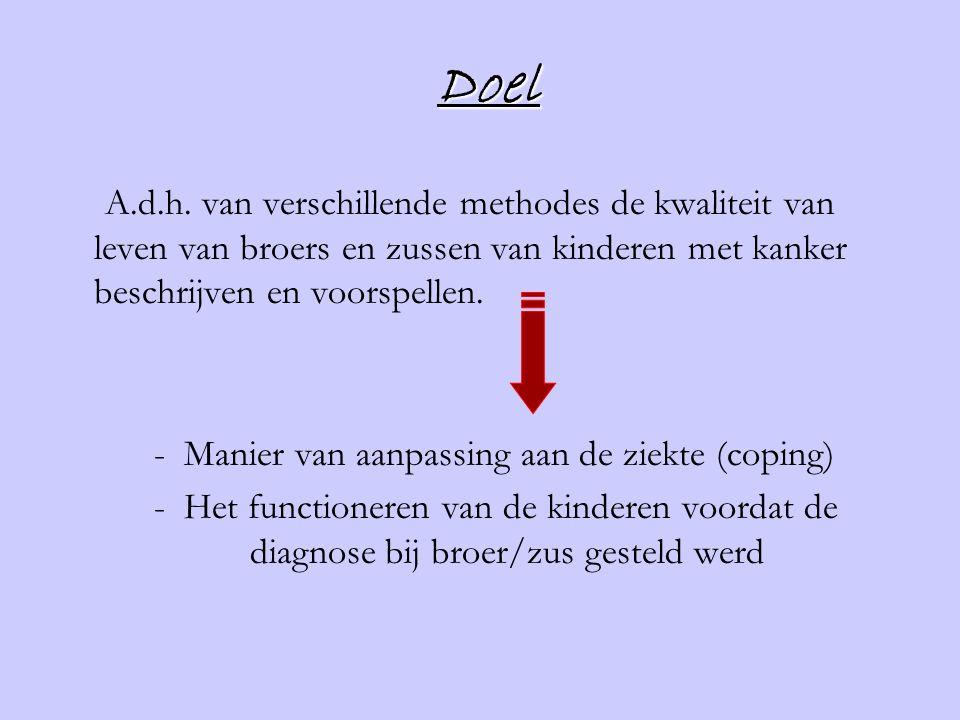 Doel A.d.h. van verschillende methodes de kwaliteit van leven van broers en zussen van kinderen met kanker beschrijven en voorspellen.