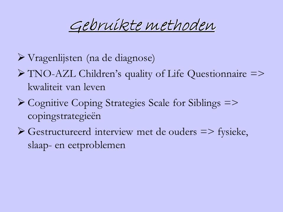 Gebruikte methoden Vragenlijsten (na de diagnose)
