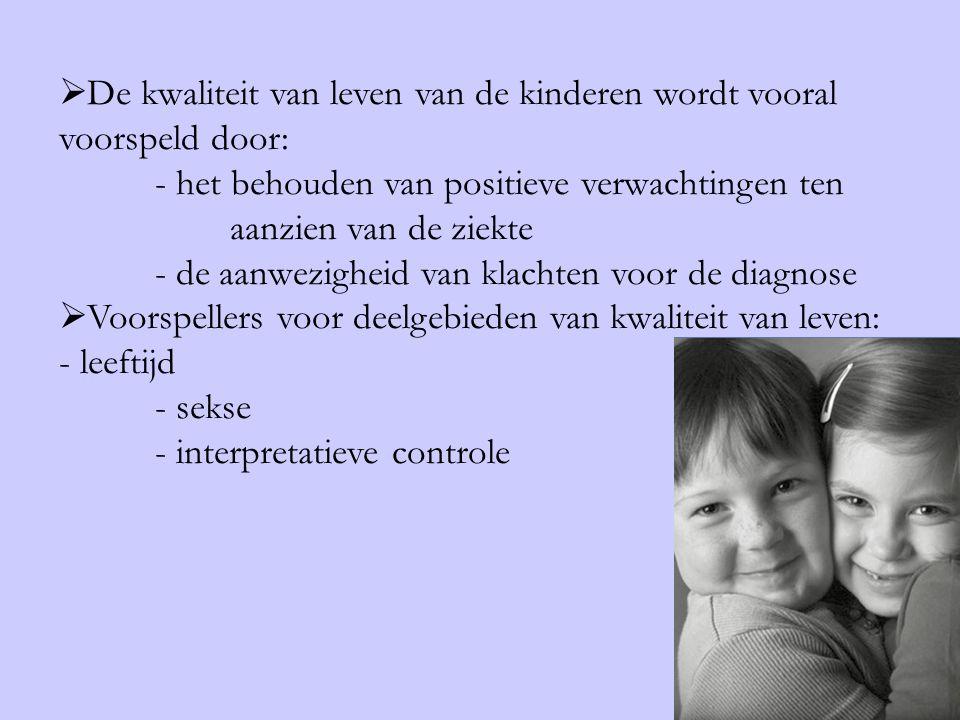 De kwaliteit van leven van de kinderen wordt vooral voorspeld door: