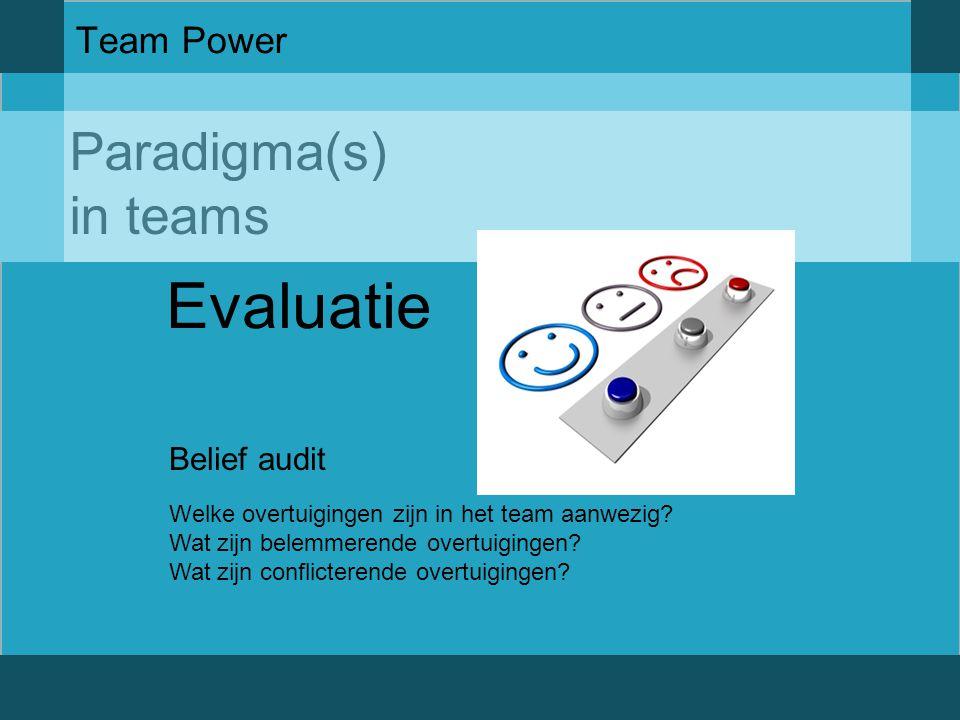 Evaluatie Paradigma(s) in teams Team Power Belief audit
