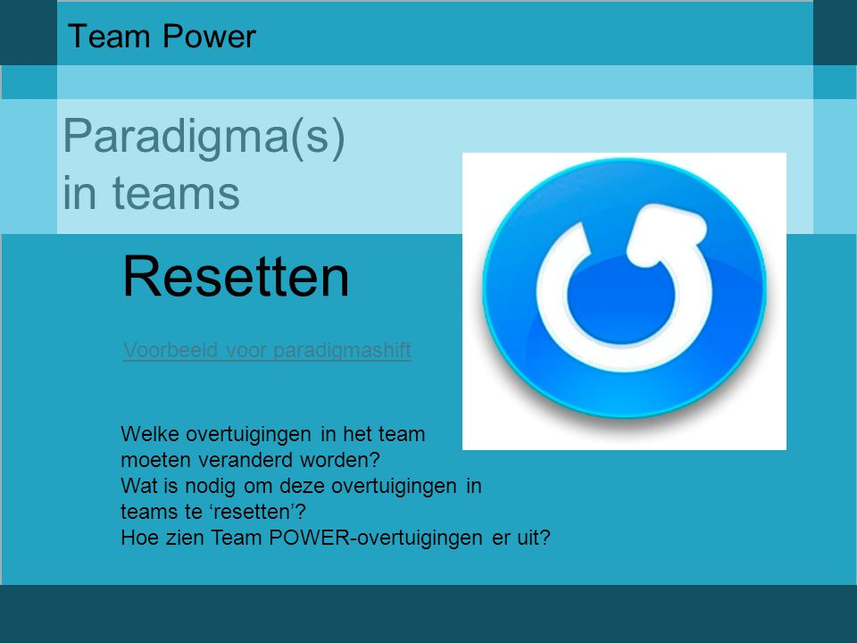 Resetten Paradigma(s) in teams Team Power