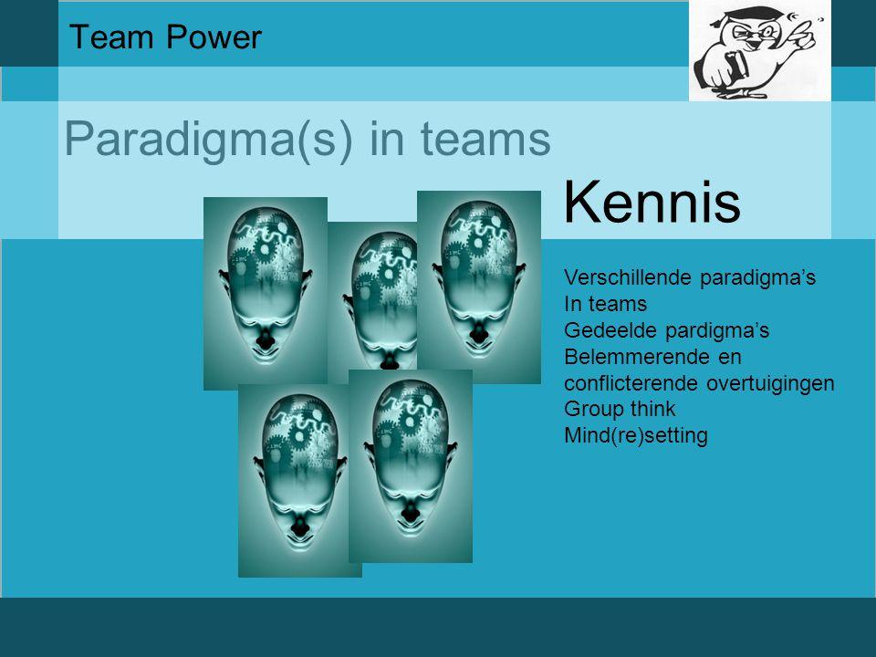 Kennis Paradigma(s) in teams Team Power Verschillende paradigma's