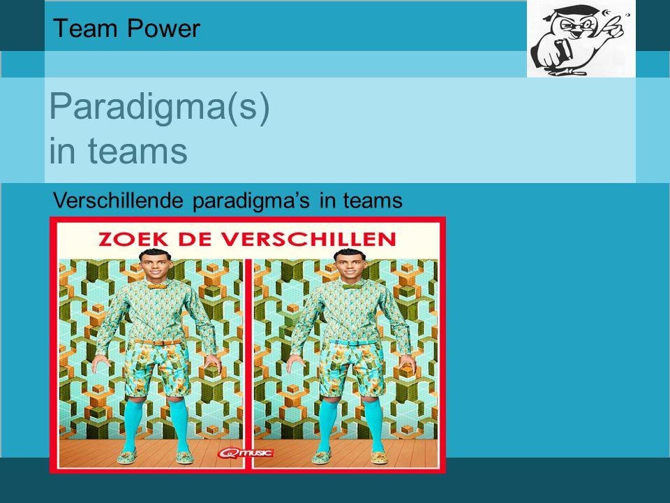 Team Power Paradigma(s) in teams Verschillende paradigma's in teams
