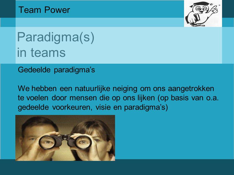 Paradigma(s) in teams Team Power Gedeelde paradigma's
