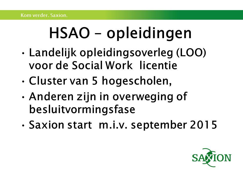 HSAO – opleidingen Landelijk opleidingsoverleg (LOO) voor de Social Work licentie. Cluster van 5 hogescholen,