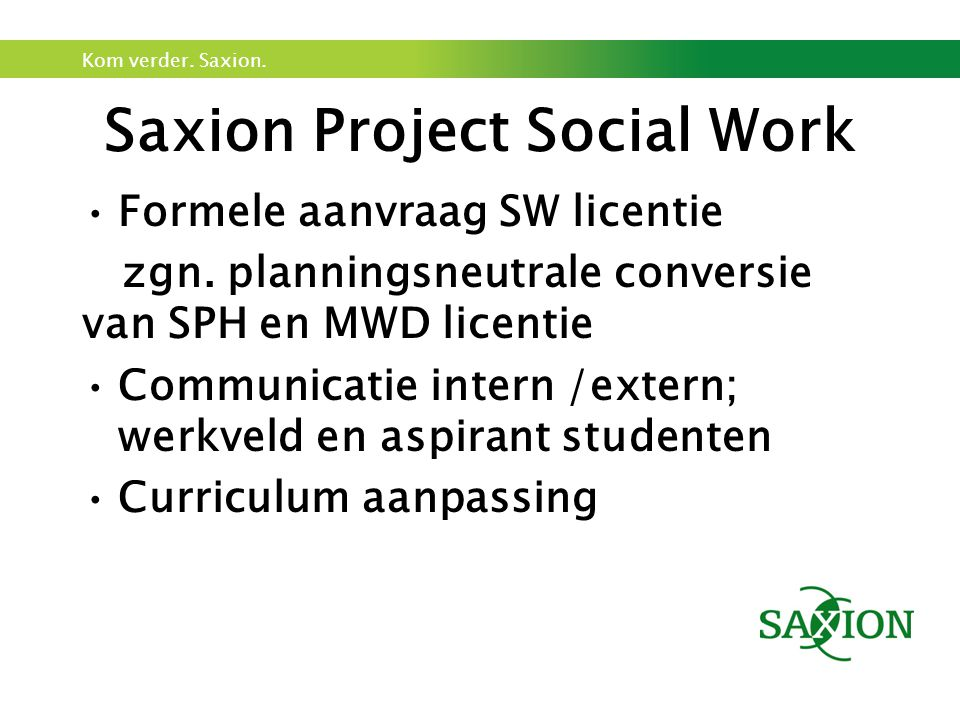 Saxion Project Social Work