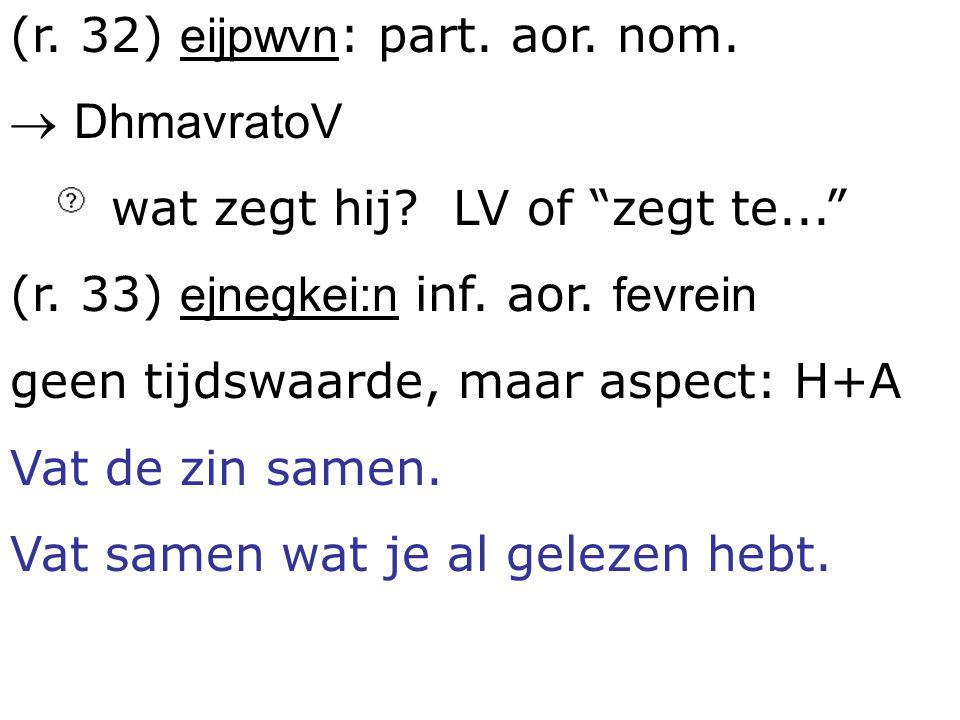 (r. 32) eijpwvn: part. aor. nom.