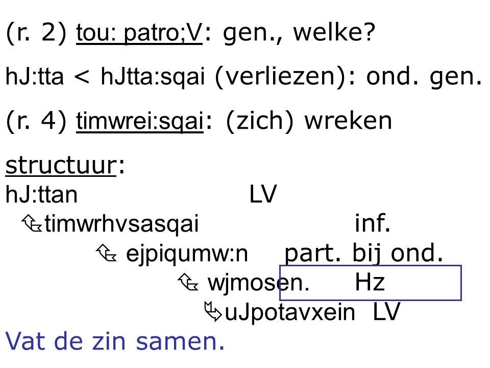 (r. 2) tou: patro;V: gen., welke