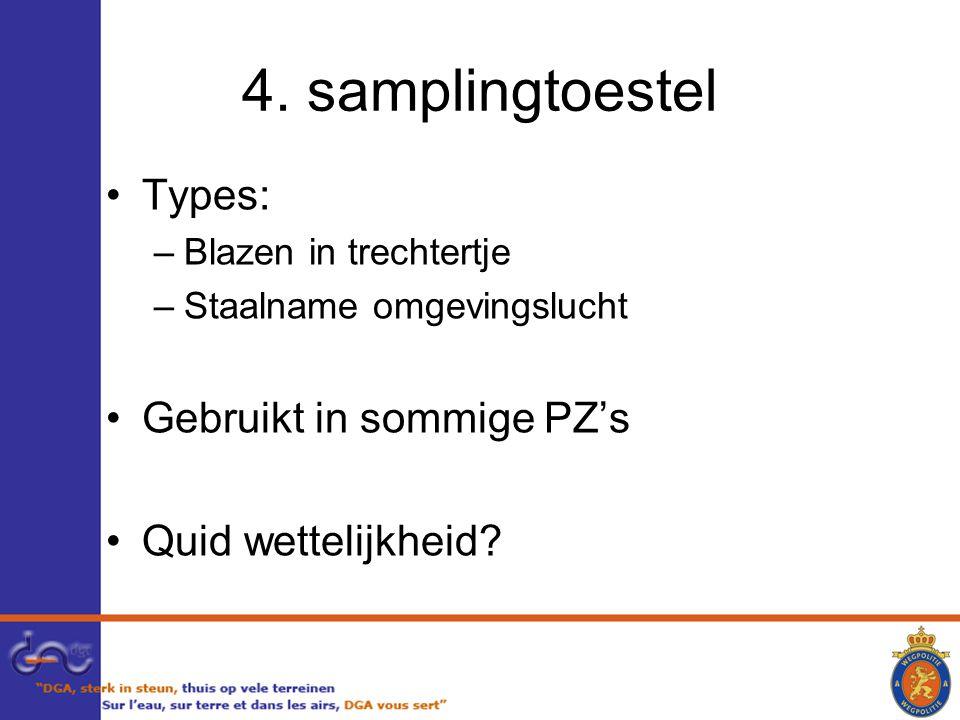 4. samplingtoestel Types: Gebruikt in sommige PZ's Quid wettelijkheid