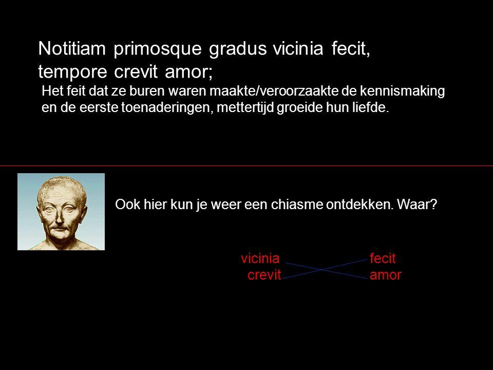 Notitiam primosque gradus vicinia fecit, tempore crevit amor;