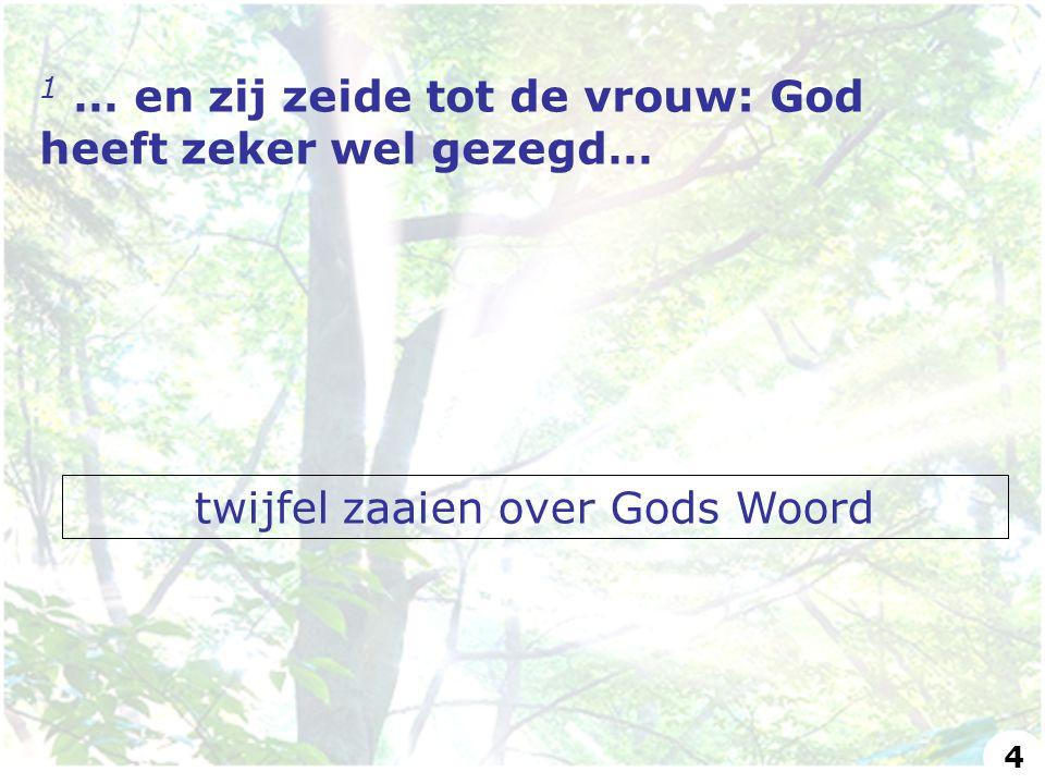 twijfel zaaien over Gods Woord