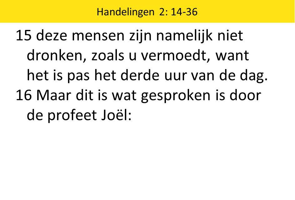 16 Maar dit is wat gesproken is door de profeet Joël: