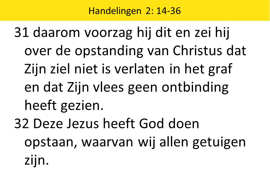 32 Deze Jezus heeft God doen opstaan, waarvan wij allen getuigen zijn.