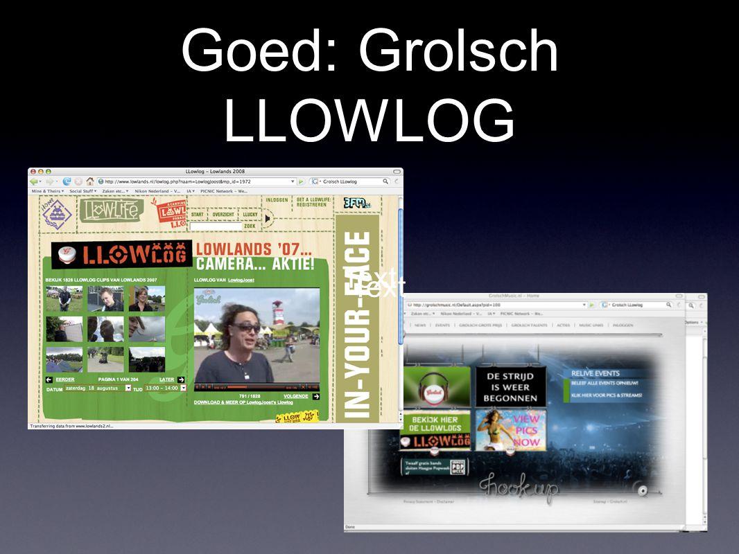 Goed: Grolsch LLOWLOG Text Text