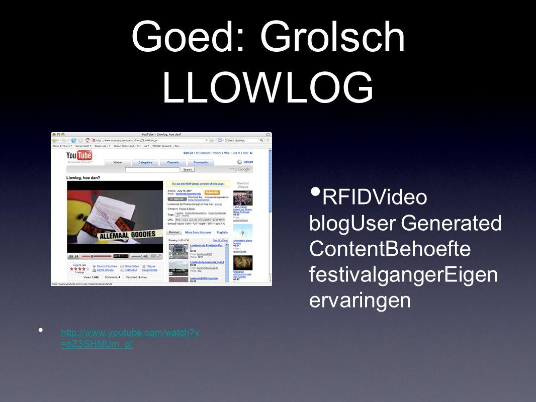 Goed: Grolsch LLOWLOG RFIDVideo blogUser Generated ContentBehoefte festivalgangerEigen ervaringen.