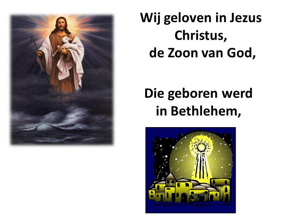 Wij geloven in Jezus Christus, Die geboren werd in Bethlehem,