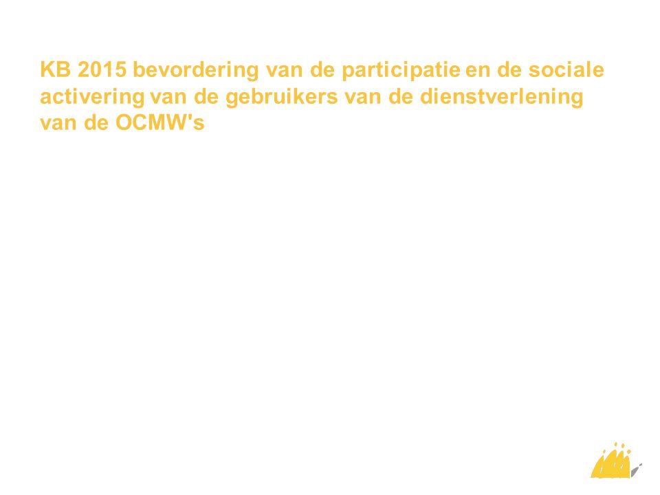 KB 2015 bevordering van de participatie en de sociale activering van de gebruikers van de dienstverlening van de OCMW s