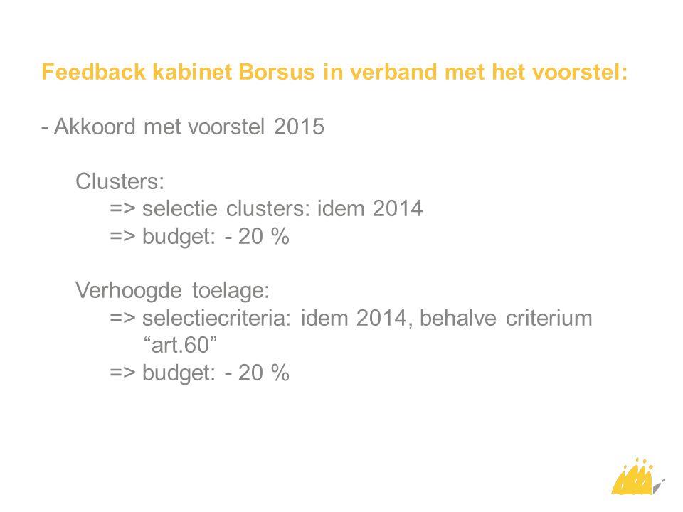 Feedback kabinet Borsus in verband met het voorstel: - Akkoord met voorstel 2015 Clusters: => selectie clusters: idem 2014 => budget: - 20 % Verhoogde toelage: => selectiecriteria: idem 2014, behalve criterium art.60 => budget: - 20 %