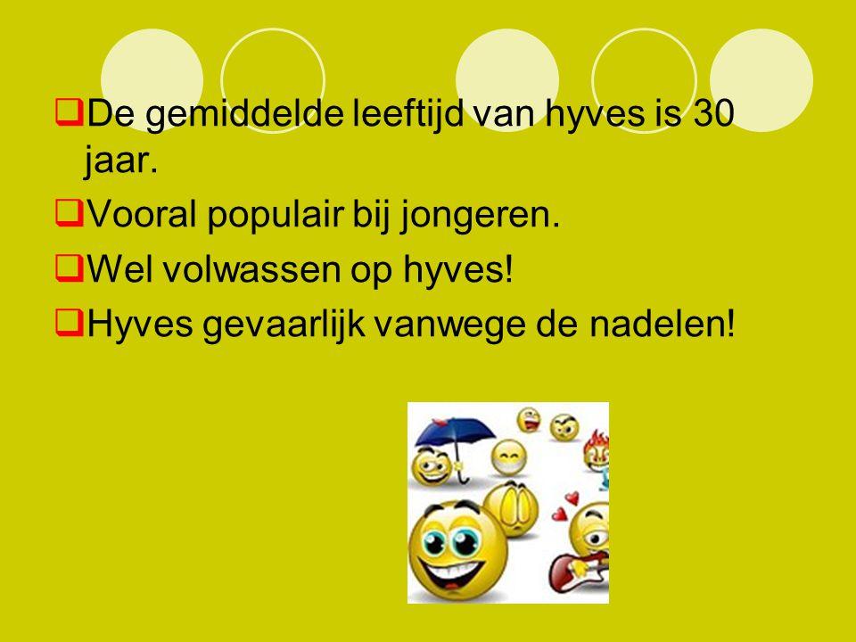 De gemiddelde leeftijd van hyves is 30 jaar.