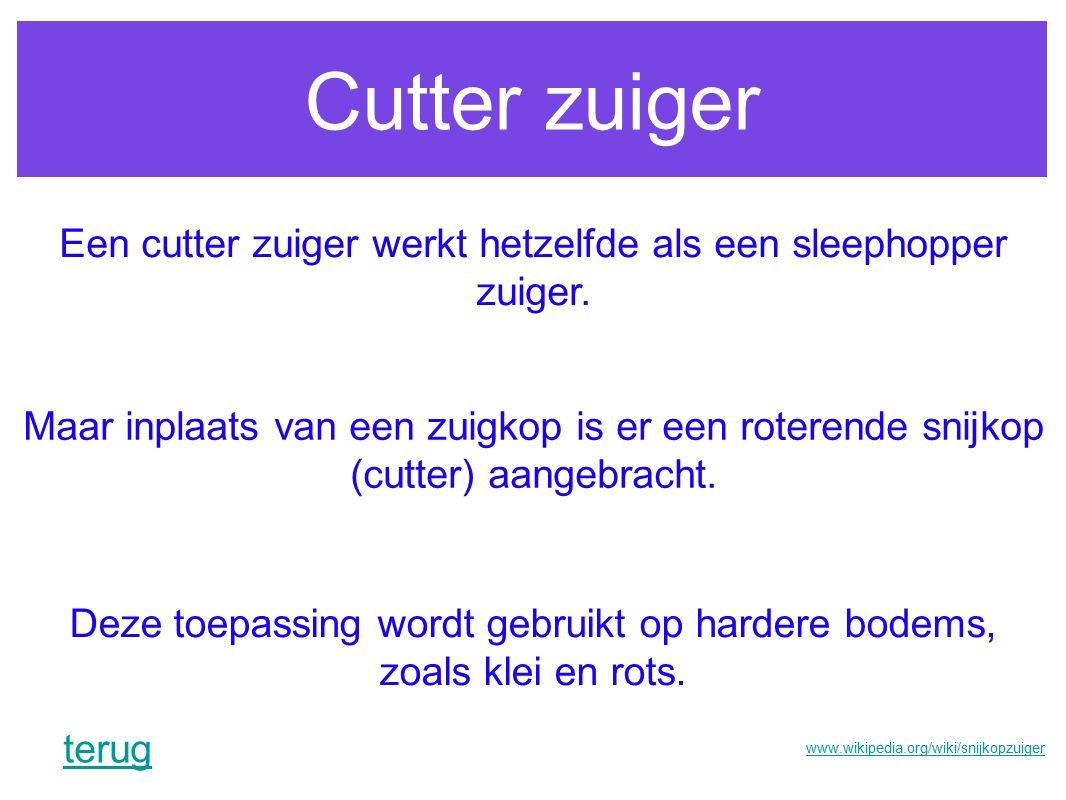 Cutter zuiger Een cutter zuiger werkt hetzelfde als een sleephopper zuiger.