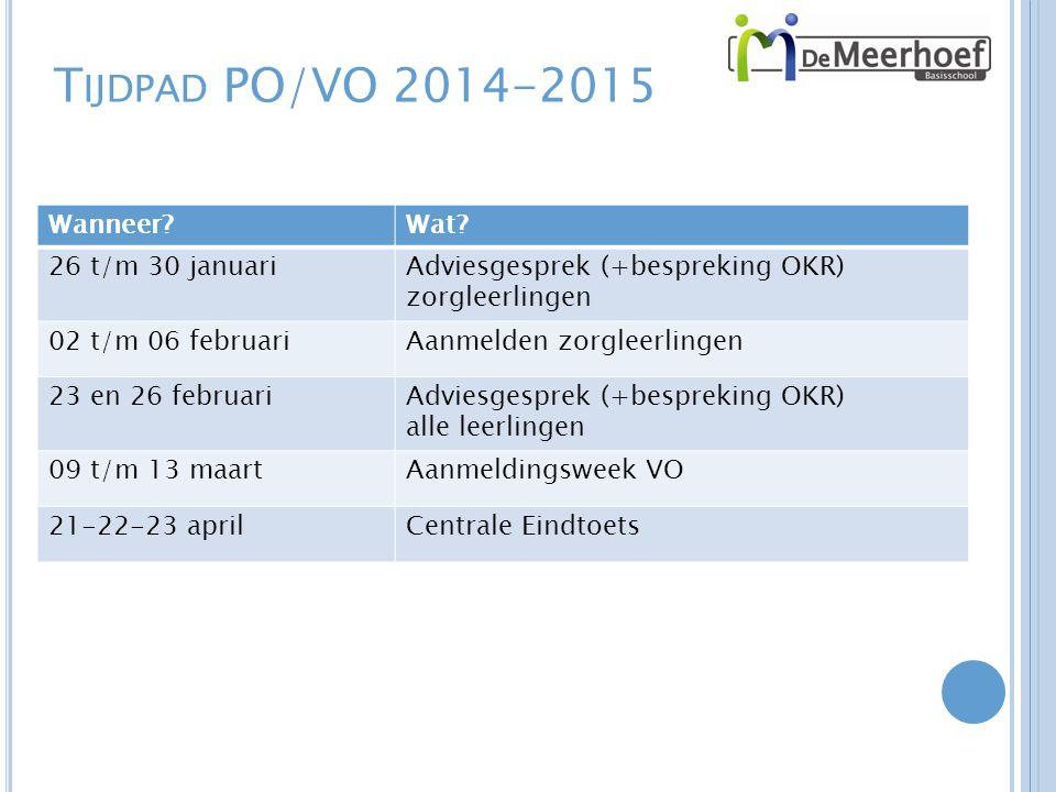 Tijdpad PO/VO 2014-2015 Wanneer Wat 26 t/m 30 januari