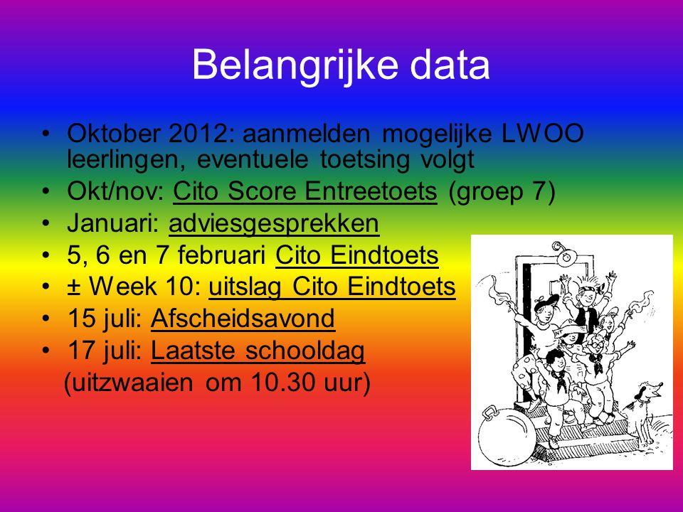Belangrijke data Oktober 2012: aanmelden mogelijke LWOO leerlingen, eventuele toetsing volgt. Okt/nov: Cito Score Entreetoets (groep 7)