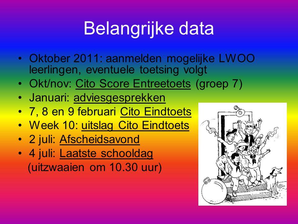 Belangrijke data Oktober 2011: aanmelden mogelijke LWOO leerlingen, eventuele toetsing volgt. Okt/nov: Cito Score Entreetoets (groep 7)