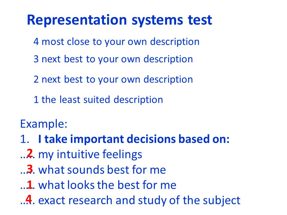Representation systems test