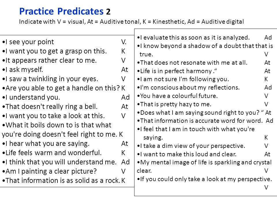 Practice Predicates 2 I see your point V.