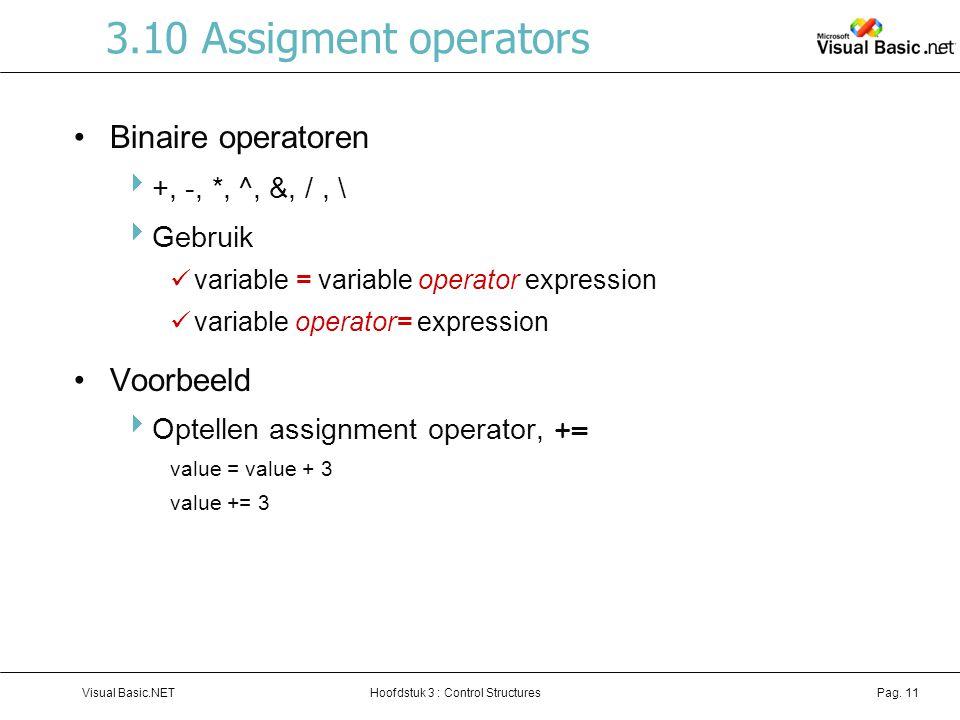 3.10 Assigment operators Binaire operatoren Voorbeeld