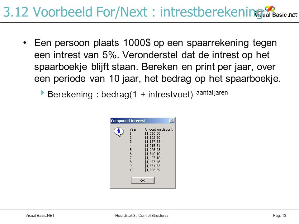 3.12 Voorbeeld For/Next : intrestberekening