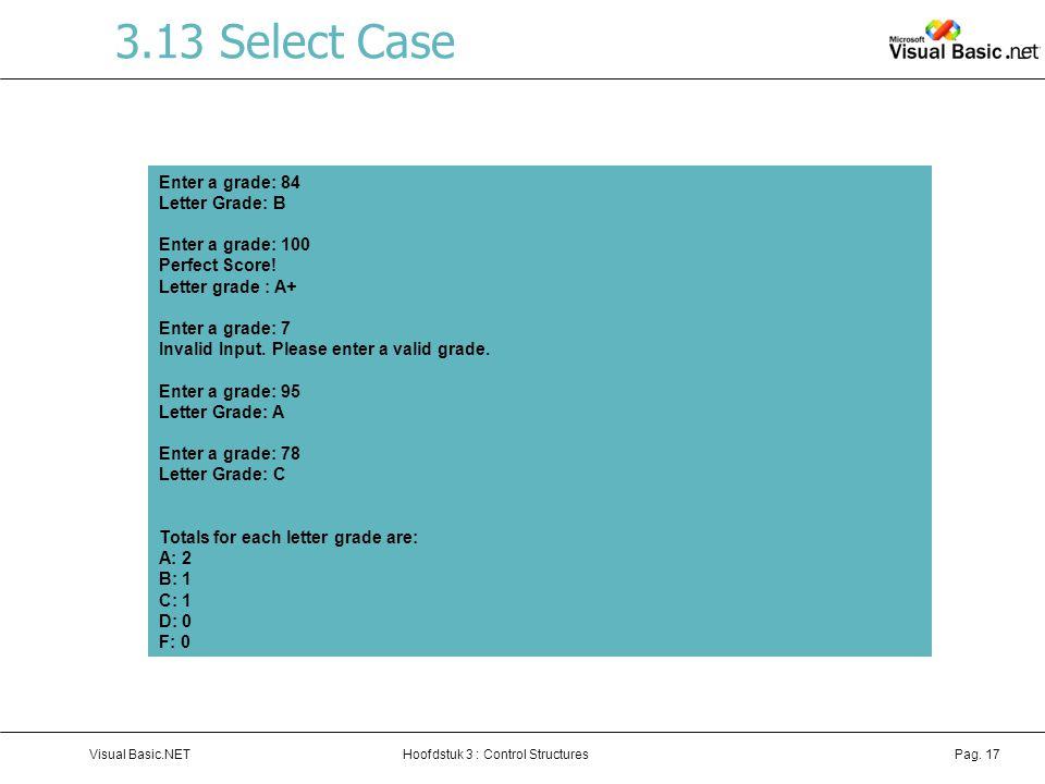 3.13 Select Case Enter a grade: 84 Letter Grade: B Enter a grade: 100