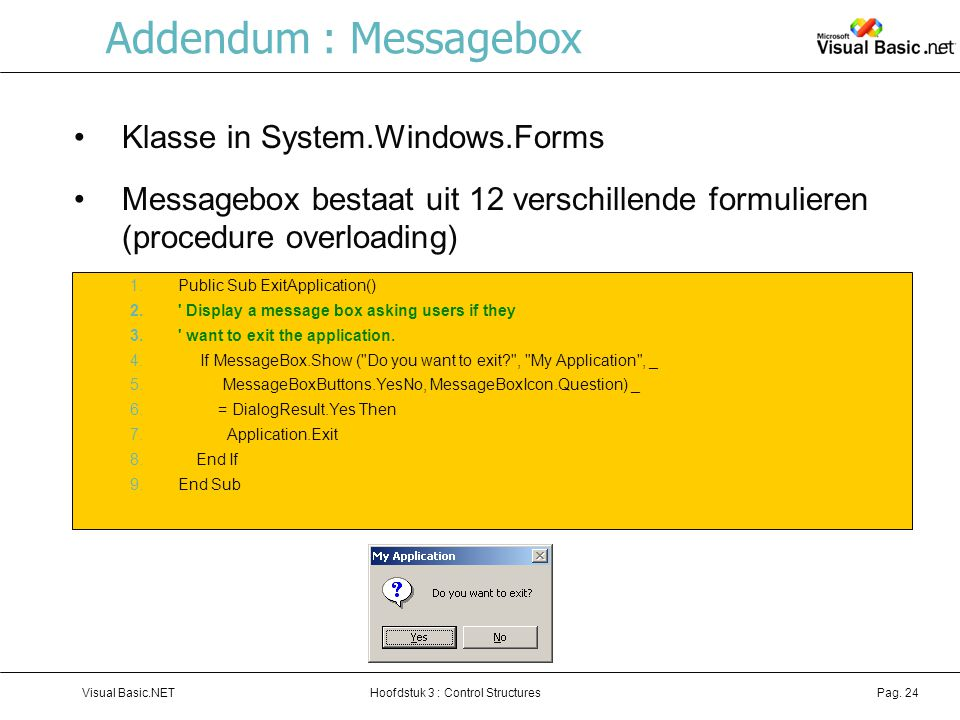 Addendum : Messagebox Klasse in System.Windows.Forms