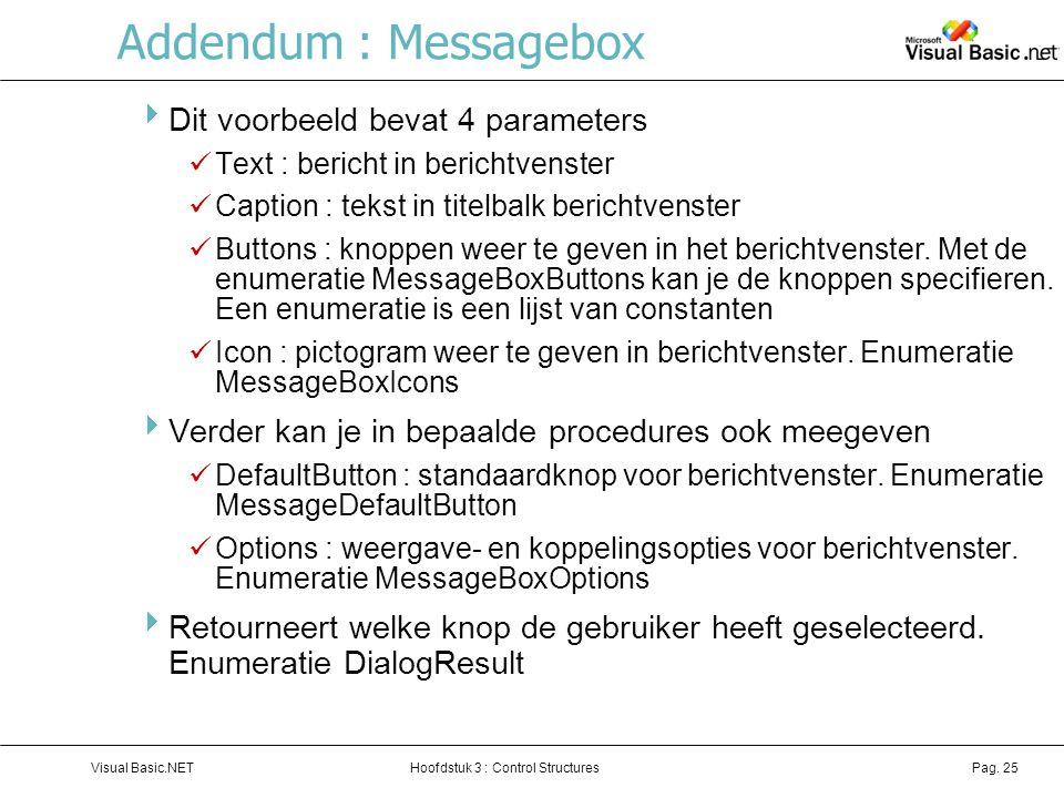 Addendum : Messagebox Dit voorbeeld bevat 4 parameters