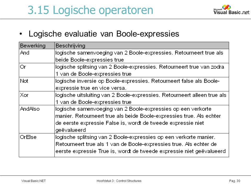 3.15 Logische operatoren Logische evaluatie van Boole-expressies XOR