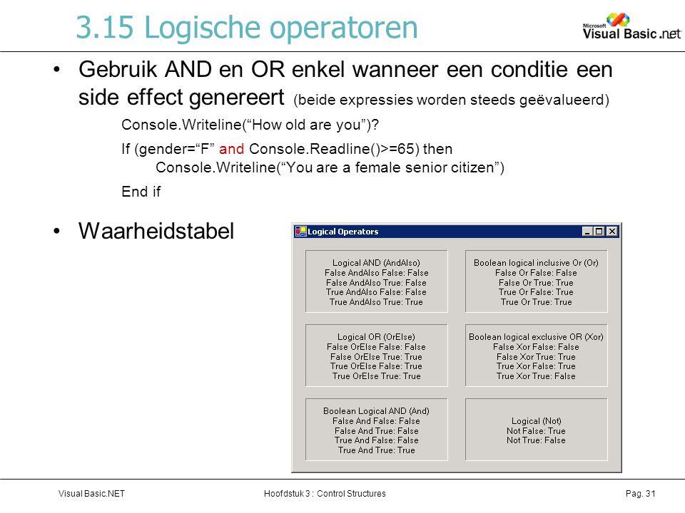 3.15 Logische operatoren Gebruik AND en OR enkel wanneer een conditie een side effect genereert (beide expressies worden steeds geëvalueerd)