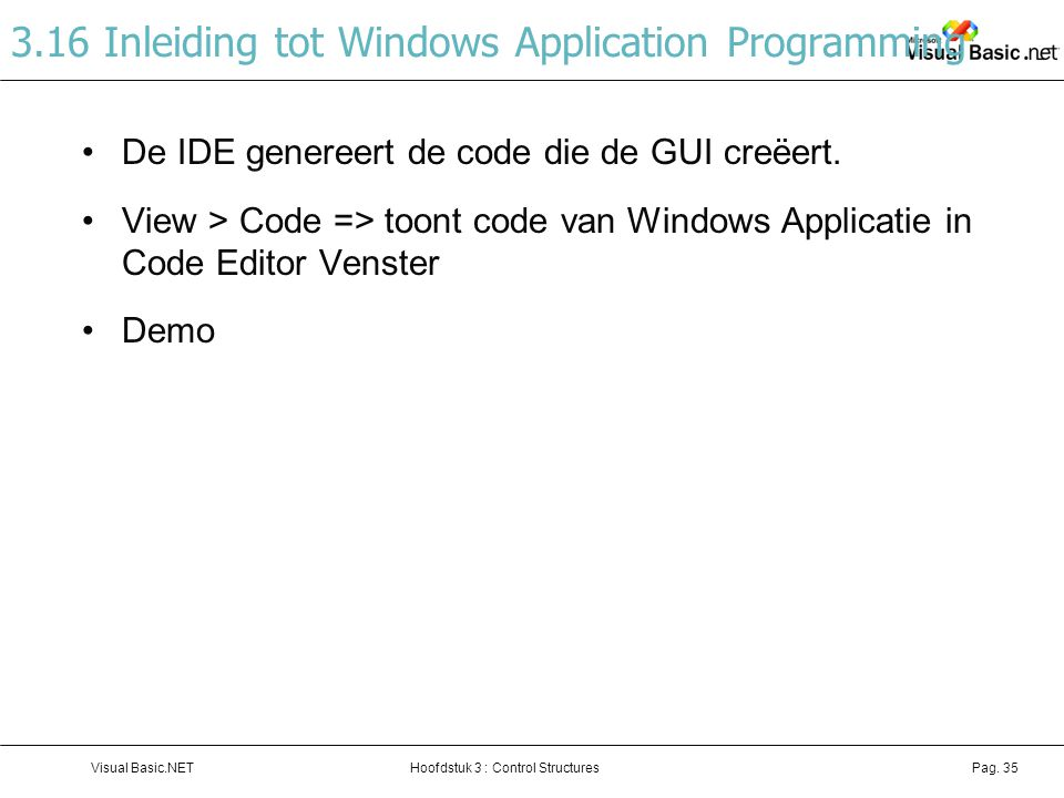 3.16 Inleiding tot Windows Application Programming