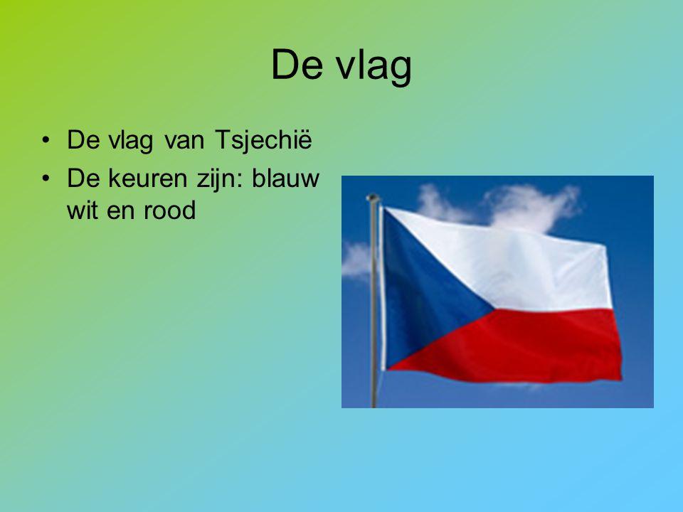 De vlag De vlag van Tsjechië De keuren zijn: blauw wit en rood
