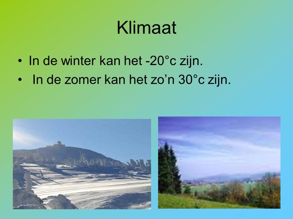 Klimaat In de winter kan het -20°c zijn.
